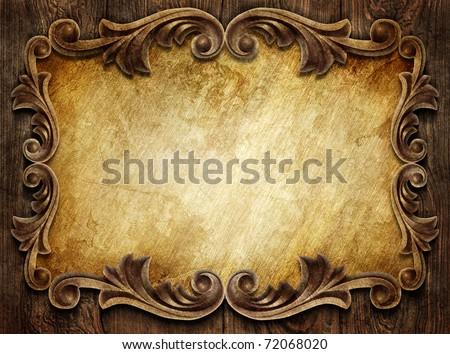 vintage classical frame on wooden background