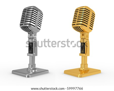 vintage classical gold and metal microphone isolated on a white background