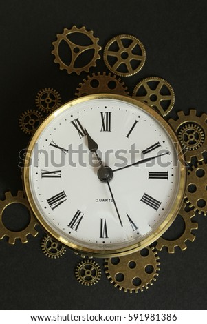 vintage clock and cogs