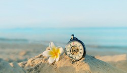 vintage clock, frangipani flower on sand beach, natural tropical ocean background. summer season, vacation, relax time, travel concept. close up