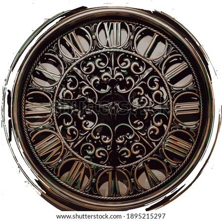vintage clock illustration isolated on white Stock foto ©
