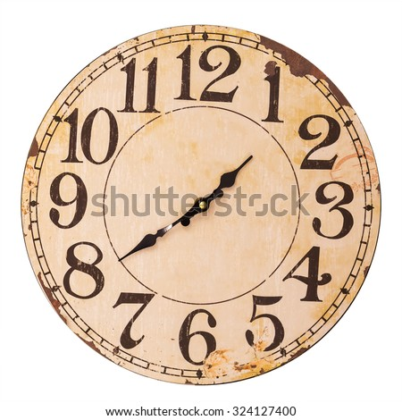 vintage clock isolated on white ...