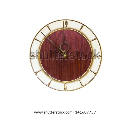 Vintage clock made �¢??�¢??of wood isolated on white