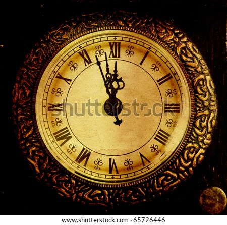 Vintage clock-New Year`s at midnight