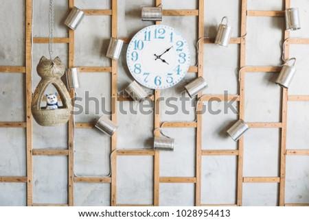 vintage clock on bare concrete...