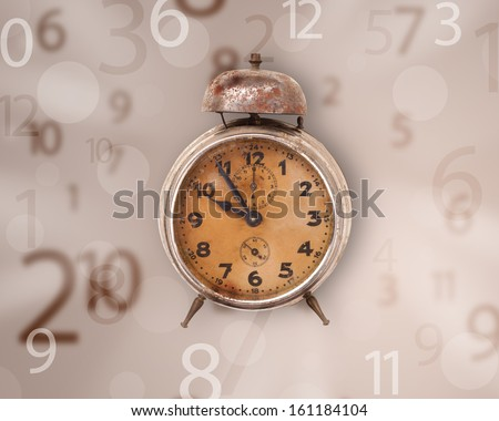 Vintage clock with numbers comming out on the side