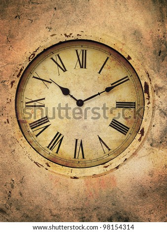 Vintage clock with roman numerals in a grungy style.