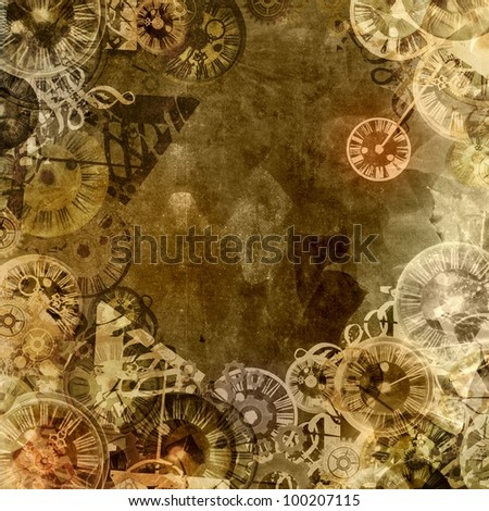 vintage clocks steam punk background illustration