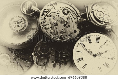 Vintage clocks, steampunk background. #696609388
