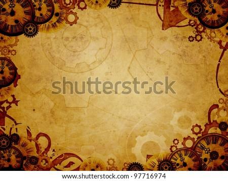 vintage clocks steampunk background - stock photo