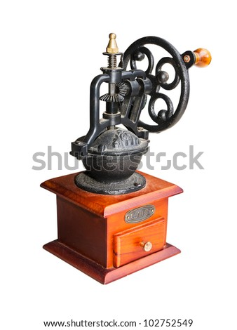 Vintage coffee grinder  isolate on white background - stock photo