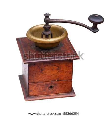 Vintage coffee mill isolated on white. Clipping path included.