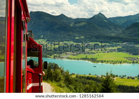 vintage cogwheel railway at Schafberg Peak (1783m) This track is steepest railway in Austria .