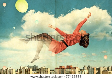 vintage collage, beauty young woman fly in the sky