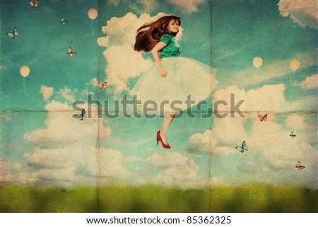vintage collage with beautiful young woman in jump, retro texture