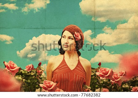 vintage collage with beauty young woman in roses, retro pattern