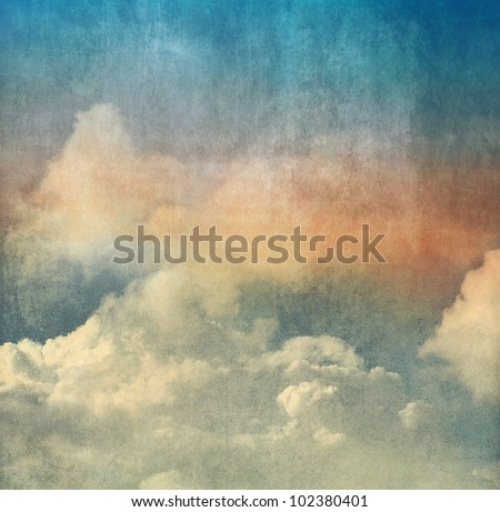 Vintage color background, Sky and clouds