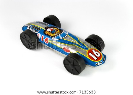 Vintage color tin race car