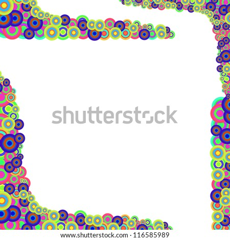 Vintage colorful circles background. Style 70s and 80s