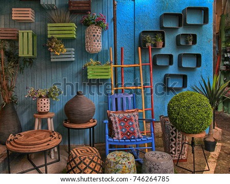 vintage colorful furniture and...