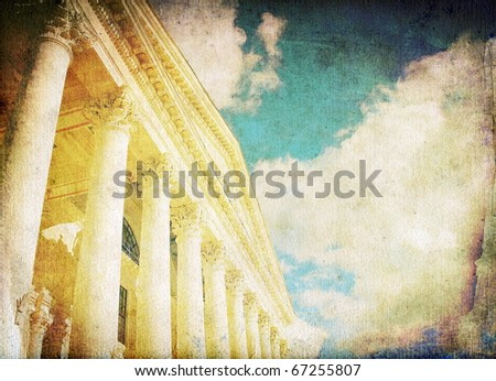 vintage columns and sky