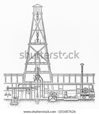 Vintage Combined drilling rig from the beginning of 20th century - Picture from Meyers Lexikon book (written in German language) published in 1908 Leipzig - Germany.