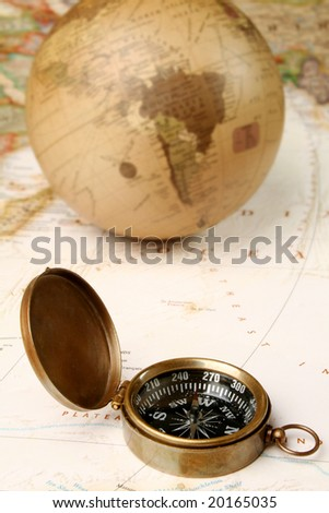 Vintage compass globe and map