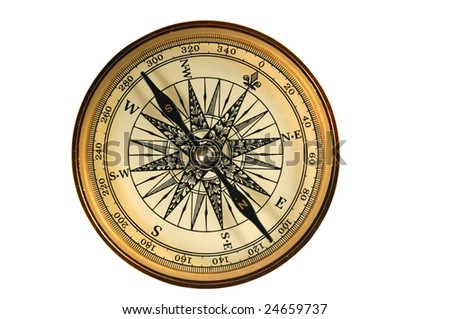 Vintage compass isolated on white.