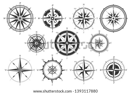 Vintage compass. Nautical map directions vintage rose wind. Retro marine wind measure. Windrose compasses icons isolated