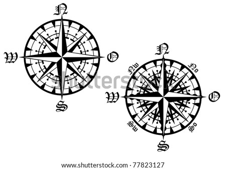Vintage compass symbols isolated on white for design. Vector version also available in gallery