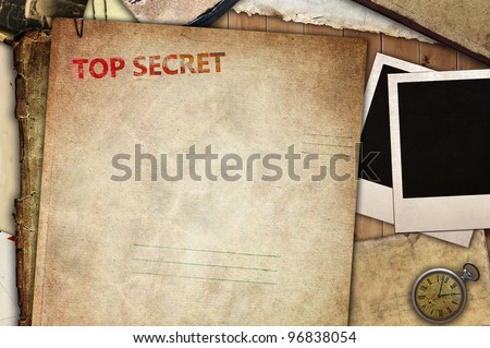 Vintage composition, top secret folder for papers Stock photo ©