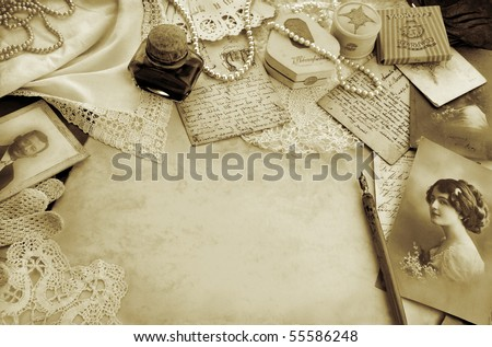 Vintage composition with original accessories from circa 1920s - stock photo
