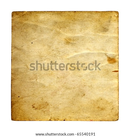 Vintage concept or conceptual old retro aged paper texture isolated on white