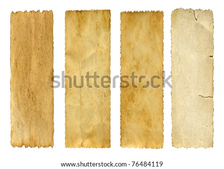 Vintage concept or conceptual old retro aged paper texture isolated on white background.Abstract damaged parchment or label,as a banner for grunge,ornament,book,letter,time,pattern or history designs