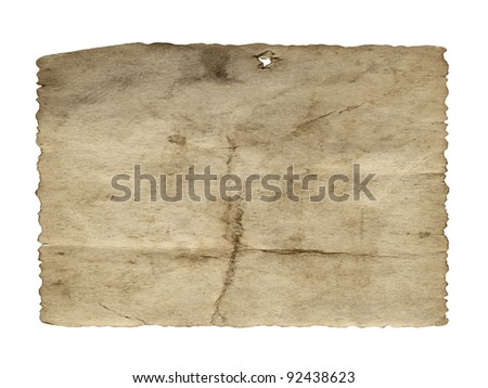 Vintage concept or conceptual old retro aged paper texture isolated on white background.Abstract damaged parchment or label, as a banner for grunge,ornament,book,letter,time,pattern or history designs