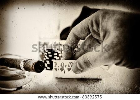 vintage conceptual poker hand image