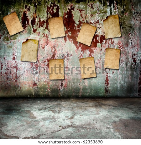 vintage concrete wall with old paper