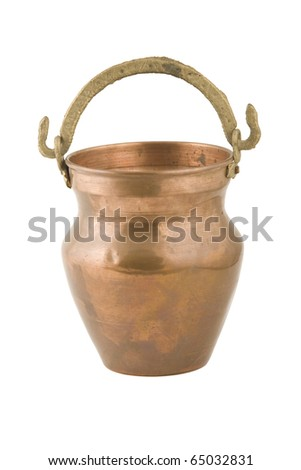 vintage copper container on white background