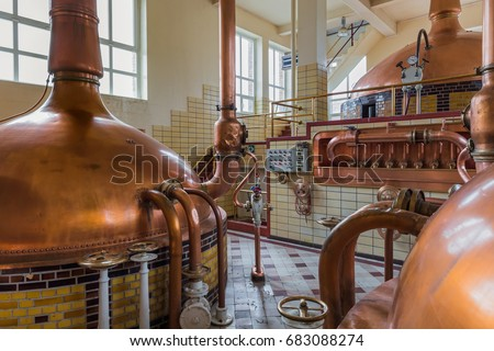 Vintage copper kettle in brewery - Belgium Stock photo ©
