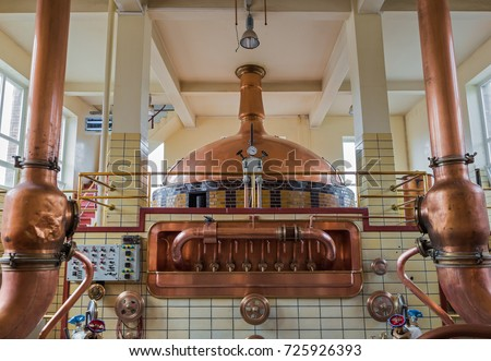 Vintage copper kettle in brewery Belgium Stock photo ©