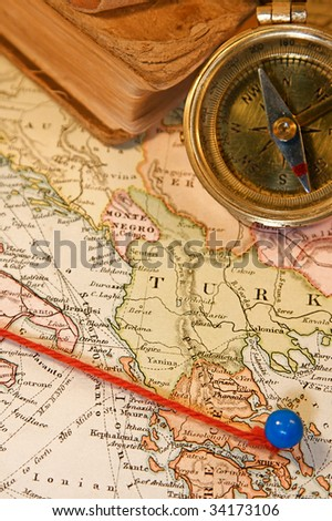 Vintage (1907 copyright - EXPIRED) map with destination string and push pin #34173106