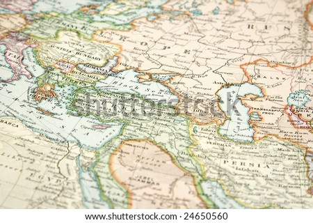 map of europe and asia. stock photo : Vintage (1907 copyrighted expired) map of Europe and Asia