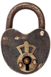 Vintage corroded padlock with decorated keyhole isolated on a white background