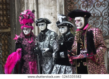 vintage costumes for the carnival of San Marco in Venice #1265335582