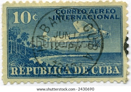 Vintage Cuba Postage Stamp World Ephemera