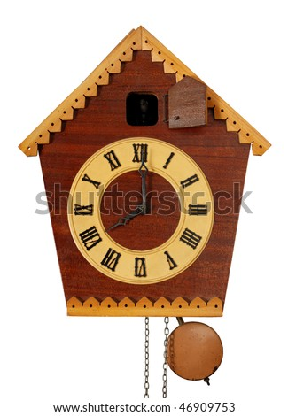 Vintage Cuckoo Clock isolated on white