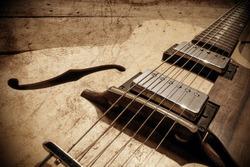 vintage custom handmade jazz guitar,grunge image
