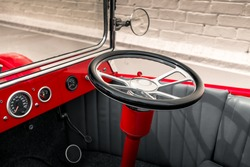 Vintage custom made hot rod interior with steering wheel