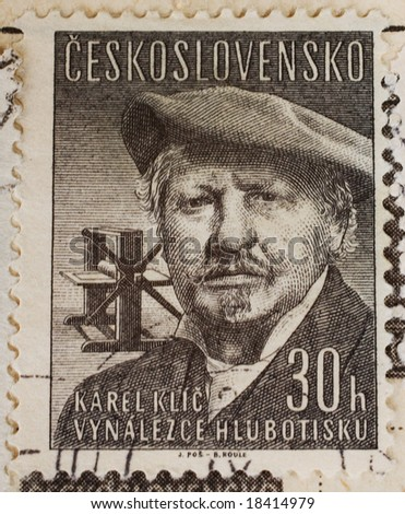 Vintage Czechoslovakian postage stamp with Czech painter, photographer and illustrator Karel Klic