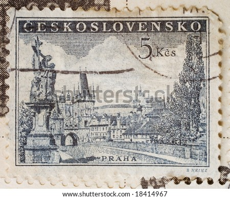 Vintage Czechoslovakian postage stamp with image of Prague